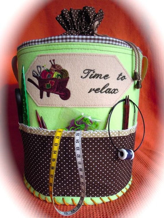 Knitting bag, felt basket, handmade basket, knitting basket