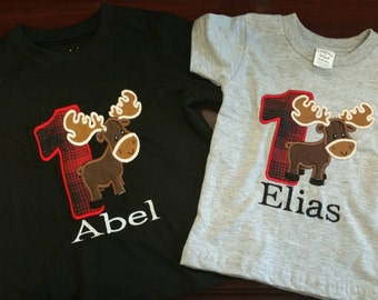 Lumberjack and moose birthday shirt, available in any size or color, please leave sizes 1-5t in comments if needed.