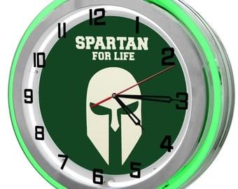 Spartan MSU Green Double Neon Clock