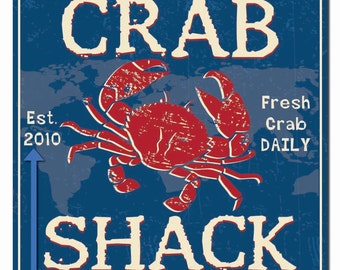 Personalized Crab Shack Hardboard Wall Sign