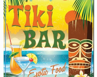 Personalized Tiki Bar Beach Hardboard Wall Sign
