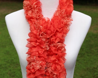 Fancy Hand Knit Ruffled Scarf in Vibrant Shades of Orange