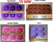 Silicone Candle Molds - Silicone Soap Molds - wax melt molds - chocolate molds - muffin molds - ice cube molds - flower - snow flake - shell
