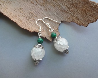 White milky snow quartz Malachite dangle earrings - quartz earrings - white quartz jewelry