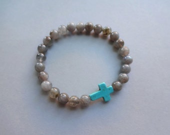Labradorite turquoise Christian Cross stretch bracelet - labrador cross jewelry