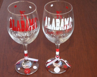 Alabama Crimson Glassware, Football, Sports Glasses, Roll Tide, Alabama Gifts