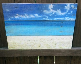 Beach Ocean Sand Tropical Scene on Reclaimed Wood Summer Artwork - Made in USA