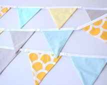 Fabric Bunting flags, blue, yellow and grey, baby boy, girl, Nursery decor, baby shower, photo prop, pennants banner with spots, stripes