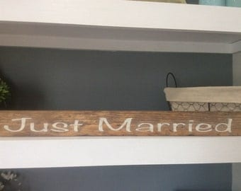 Just Married Wood Sign, Wedding Photo Prop