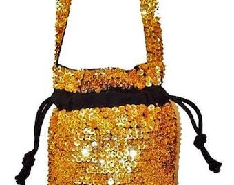 Sequin Beaded Drawstring Evening Purse Bag GOLD