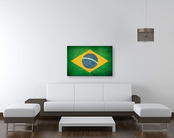Vintage Brazilian Flag, Room Decor, Vintage World Country Flags, Ready To Hang Canvas Prints
