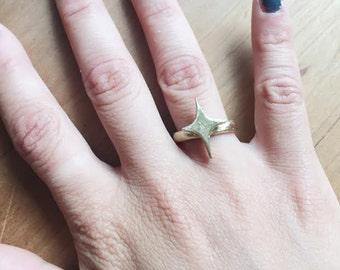 Star Burst Ring, Star Flare Ring, Brass Ring