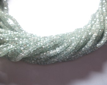 10 strand Elegance Natural Glasiour Blue zircon micro cutting faceted beads 3.5-4 mm, 13.5 inches