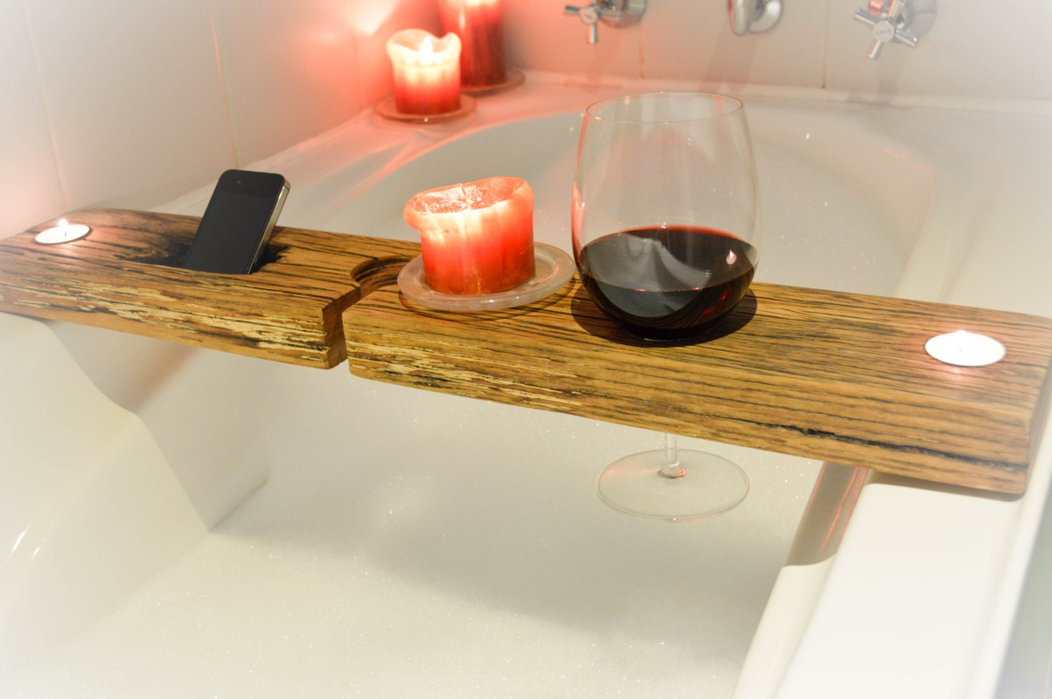 Bath tray bath caddy recycled wood with phone holder for Bathroom tray