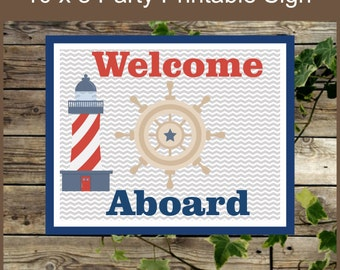 Nautical Party Printable Sign / Nautical Baby Shower Decoration / Welcome Aboard Navy Blue and Red Lighthouse / Instant Download