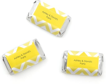 Chevron Yellow Mini Candy Bar Wrappers - Personalized Baby, Bridal and Birthday Party Hershey® Miniature Candy Bar Sticker Labels - 20 Ct