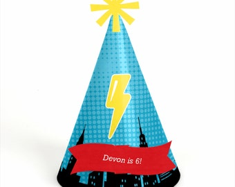 8 BAM! Superhero Birthday Party Hats - Personalized Birthday Party Supplies - Set of 8