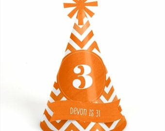8 Chevron Orange Birthday Party Hats - Personalized Birthday Party Supplies - Set of 8