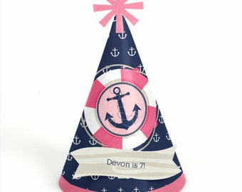 8 Nautical Girl Birthday Party Hats - Personalized Nautical Girl Birthday Party Supplies - Set of 8