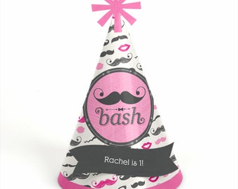 8 Pink Mustache Birthday Party Hats - Personalized Birthday Party Supplies - Set of 8
