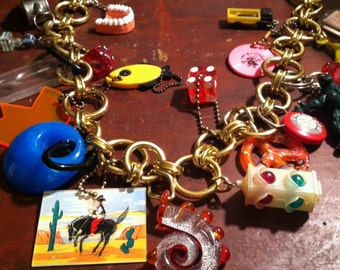 The Greatest Vintage 1960's Antique Charm Necklace of all Time! One of a Kind Handmade Folk Art! An Original! Huge! Free ship!! SALE!!