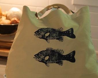 Large Organic Bag with Fish Prints