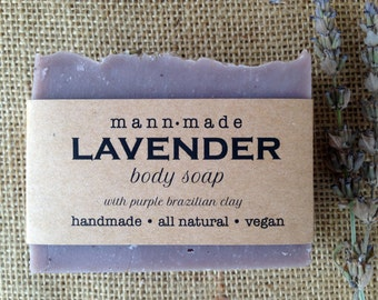 Lavender Soap, All Natural, Vegan, made with 100% Essential Oil & Purple Brazilian Clay