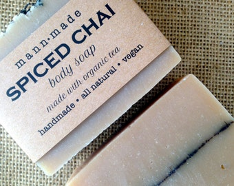 Spiced Chai Soap - Made with Organic Brewed Tea, Essential Oils and Ground Spices - Body Soap - Vegan, All Natural