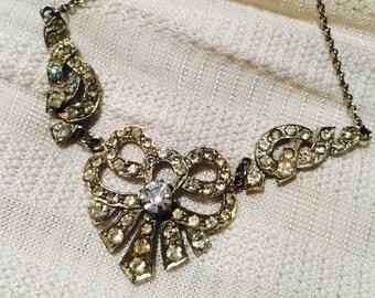 Vintage 1950's Pin Up Necklace Rhinestones