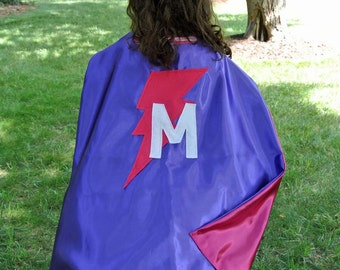Child Superhero Cape - Capes for Halloween - Personalized Christmas Gift - Double Sided Cape - You Choose Colors, Shape and Initial