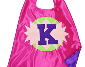 Free Mask . Custom Halloween Costume . Pink and Purple Superhero Cape .  Superhero Cape . Custom Initial Cape . Quick Ship