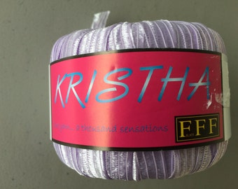 Kristha Yarn, for Hand Knitting, Novelty Ribbon Yarn, Extra Wide, Rayon-Look, Made in Italy, 100% Nylon, Bulky Knit, Lavender, Color # 20