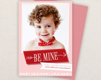 INSTANT DOWNLOAD: Photo Valentine's Card. Be Mine Arrows.