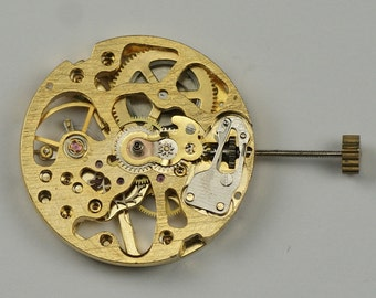 Skeleton gold mechanical manual wind watch movement steampunk project modding