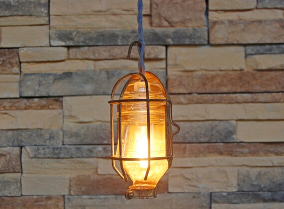 Vintage insulator pendant light with rusty by quillcocreations for Antique insulator pendant lights