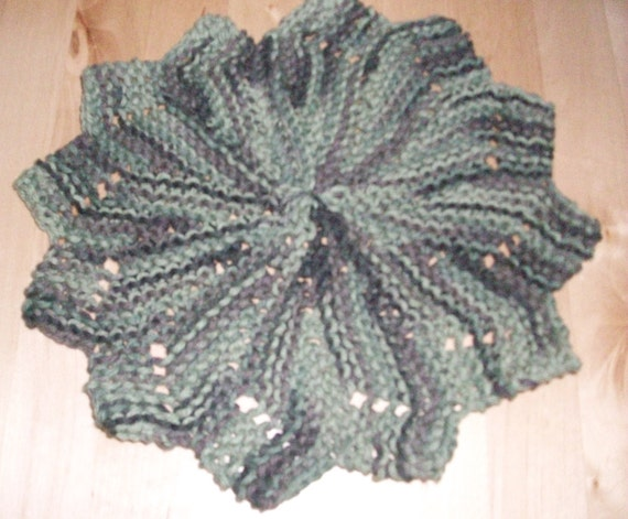 Knitted Dishcloth Patterns For Variegated Yarn : Knit variegated green cotton yarn petal by JamesRiverCrafts