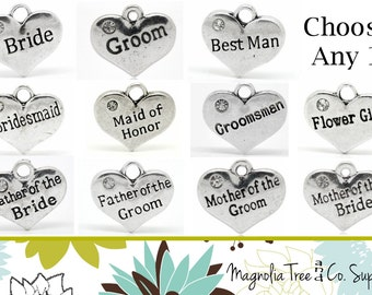 WEDDING PARTY Charms, Tibetan Silver 2 Sided with Rhinestones, Maid of Honor, Bridesmaid, Bride, Flower Girl, Your CHOICE of charm (JC1)