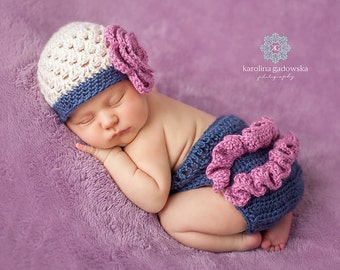Beanie hat wity flower and Diaper Cover crochet photo prop