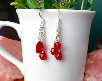Pomegranate Red Dangling Earrings