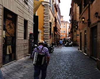 Roman Accordion Player - Landscape City Photography Print