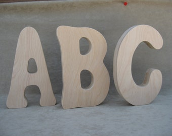 """Wood Letters: 8"""" Freestanding, 1"""" Thick With Birch Finish (8.00 per letter)"""
