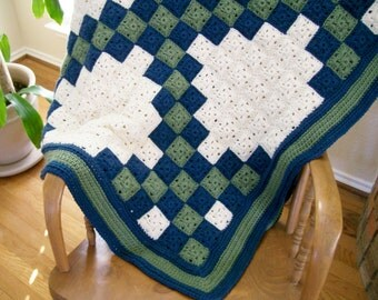 Crochet Irish Chain Afghan, Crochet Granny Square Afghan, Irish Chain Crochet Quilt