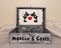 Personalized Mickey and Minnie Mouse Wedding Card Box, Disney Wedding Card Box, Mickey and Minnie, Wedding Card Box, Disney Keepsake Box