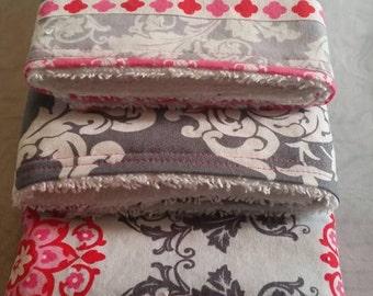 Baby Burp Cloths Set of 3, Burp Rags, Burp Cloths, Baby, Pink and Gray Burp Cloths, Girl Burp Rags, Baby Girl, Baby Shower Gifts