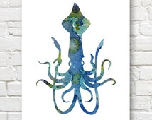 Blue Squid Art Print - Abstract Watercolor Painting - Wall Decor