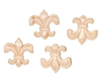 Small Fleur De Lis Wood Appliques-Decorative Wood-Wood Crafts-4 pcs