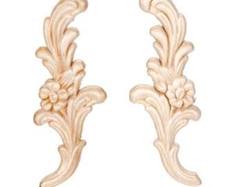 Floral Pair Wood Appliques-Decorative Wood-Wood Crafts-2 pcs