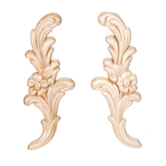 Floral pair wood appliques decorative wood wood crafts 2 pcs for Decorative wood onlays
