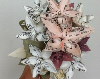 Personalised origami bouquet - Handmade using music score paper from any song