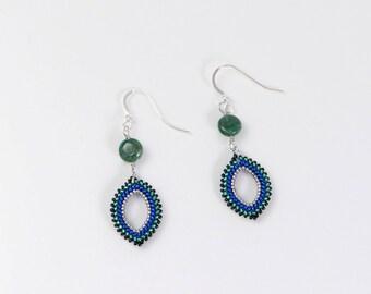 Blue boho earrings, green gemstone earrings, aventurine earrings, marquise earrings, 389
